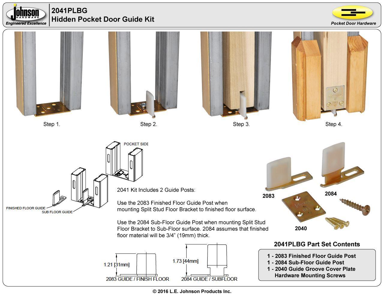 ... Picture of 2041PLBG Hidden Pocket Door Guide Kit  sc 1 st  Jhusa.net & 2041PLBG Hidden Pocket Door Guide Kit | Jhusa.net | Sliding ...
